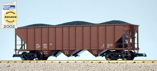 USA Trains G Escala 14001 70 tonelada 3 Bay Tolva De Cochebón Sin Óxido Rojo