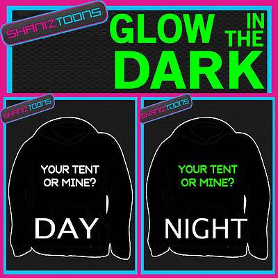 Festival Camping Funny lema Adultos Y Niños Brillan En La Oscuridad sudadera con capucha