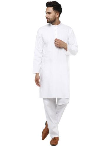 Indian Kurta Pajama Men Pure Cotton Long Sleeve Button Down Set White