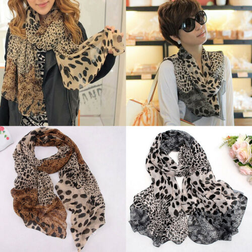 Womens Sunscreen Long Chiffon Leopard Printed Shawl Scarf Wrap Stole Girls//Lady