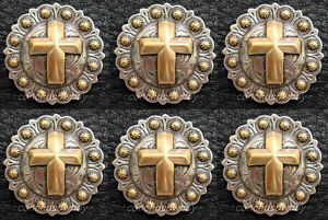 """Set of 6 Western Equestrian Cowboy Tack ~Coloma Gold~ Berry Conchos 1 3//4/"""""""