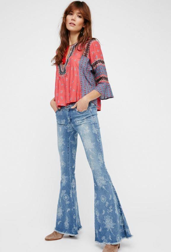 Free People Super Flare Floral Print Denim Boho bluee Jeans Pants 30