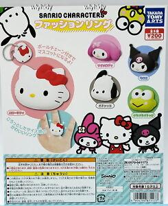 Sanrio-Hello-Kitty-Melody-Kuromi-Pochacco-Keroppi-Finger-Ring-5pcs-Takara-Tomy