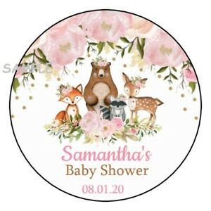 12 Personalized Woodland Animals Birthday Party Stickers Favors Labels 2.5/""