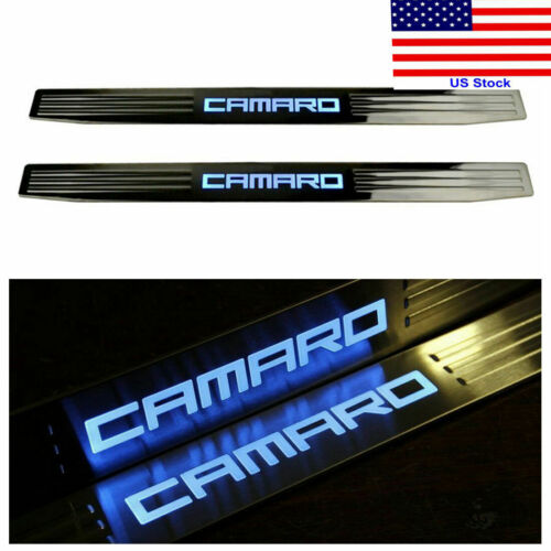 For GM Chevy Chevrolet Camaro 10-15 Blue LED Light Door Sill Scuff Plate Cover