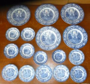 18-LIBERTY-BLUE-Dish-ware-Betsy-Ross-OLD-NORTH-CHURCH-Monticello-Independence