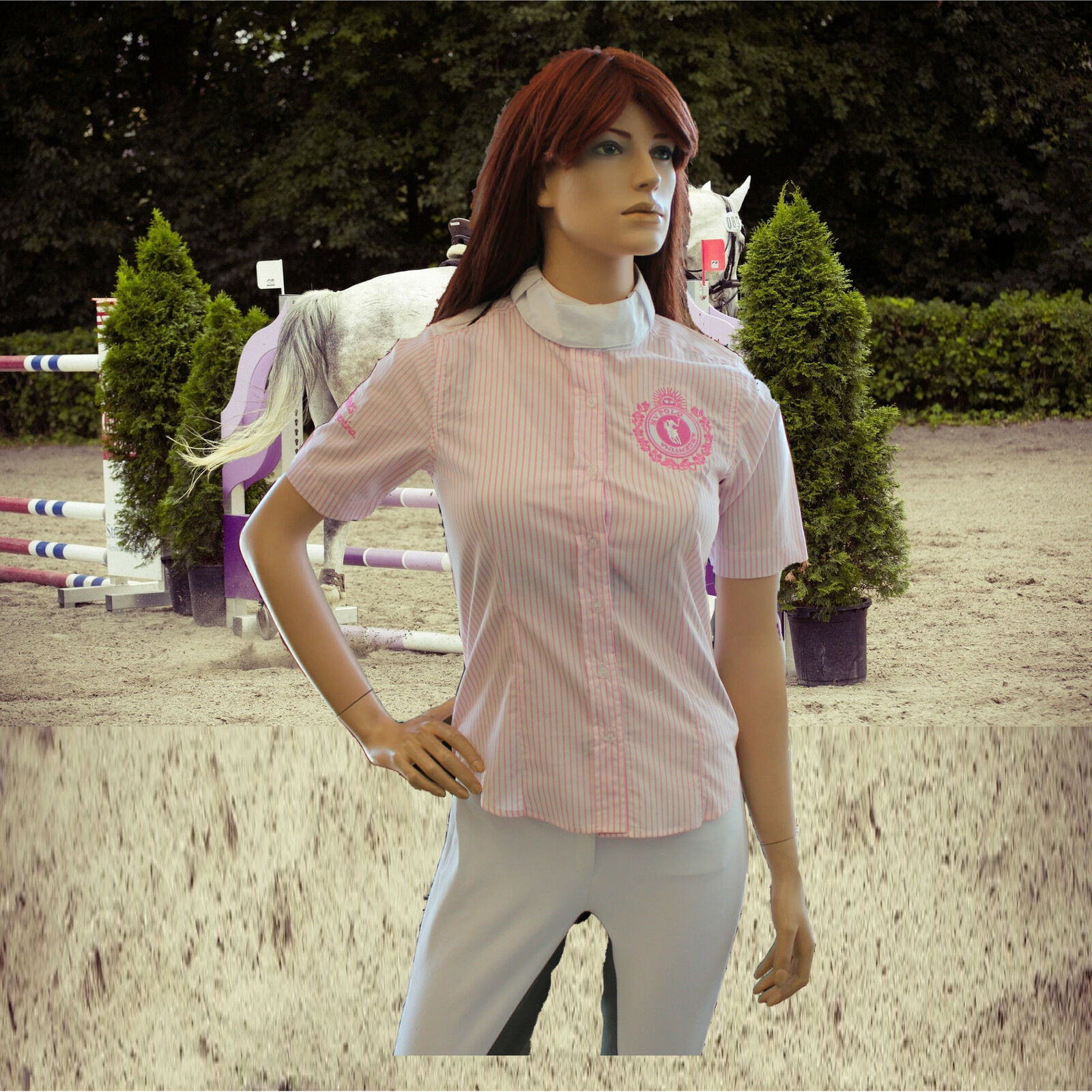 HV Polo Damen Turnier Blause Savine, Rosa Streifen, Turnierbekleidung, Turnierbekleidung, Turnierbekleidung, Gr. XS 74d9de