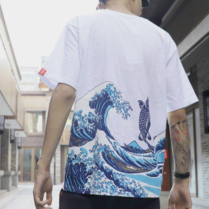 Men Japanese Harajuku T-Shirt Ukiyoe Wave Carp Fish Printed Hip Hop Tops Tee hOT