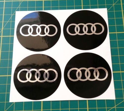 4 x 50mm Adesivi Cerchi in lega effetto cromato AUDI FIT CENTRO hub cap badge Trim
