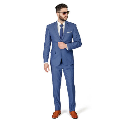Slate Grey Slim Fit Men Suit Micro Textured Weave 2 Button Notch Collar Azar Man