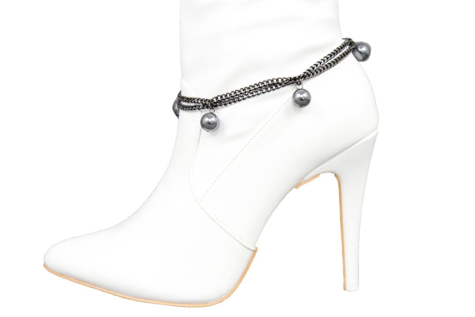 Women Pewter Color Metal Chain Boot Bracelet Western Shoe Ball Charm Jewelry Fun
