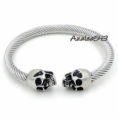 Men Silver Black Gold Tone Skull 316L Stainless Steel Cable Cuff Biker Bracelet