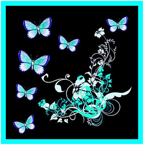 ICE-BLUE-BUTTERFLY-amp-FLOWERS-SET-OF-4-COASTERS-GIFT-PRESENT-NEW