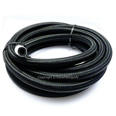 """AN -6 AN6 5/16"""" 8MM Black NYLON Braided RUBBER Fuel Oil Hose Pipe 1 Metre"""