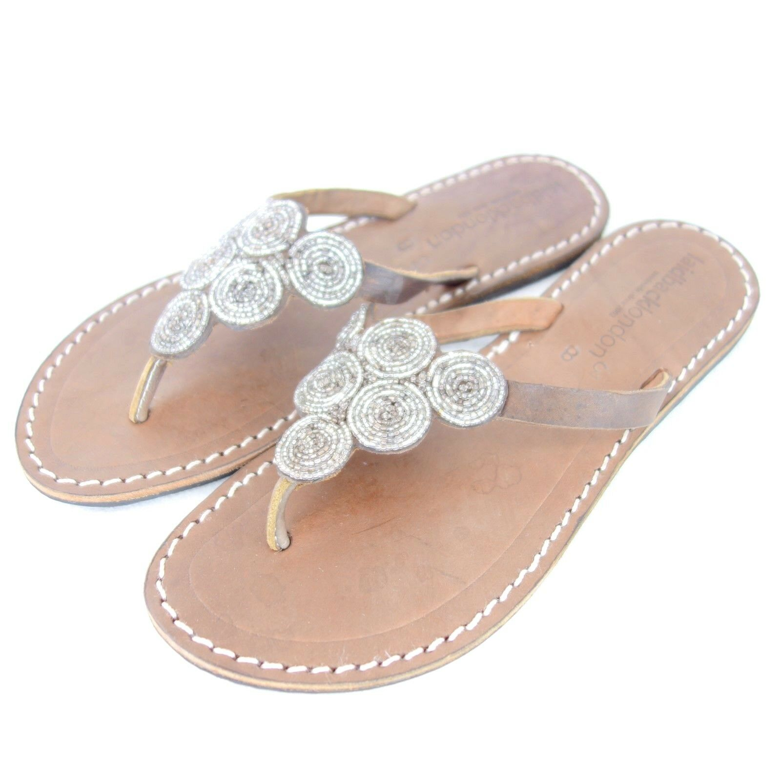 LAIDBACK LONDON Damen Sandalen Zehentrenner Schuhe 36 Leder Ziersteine NEU 79 NP