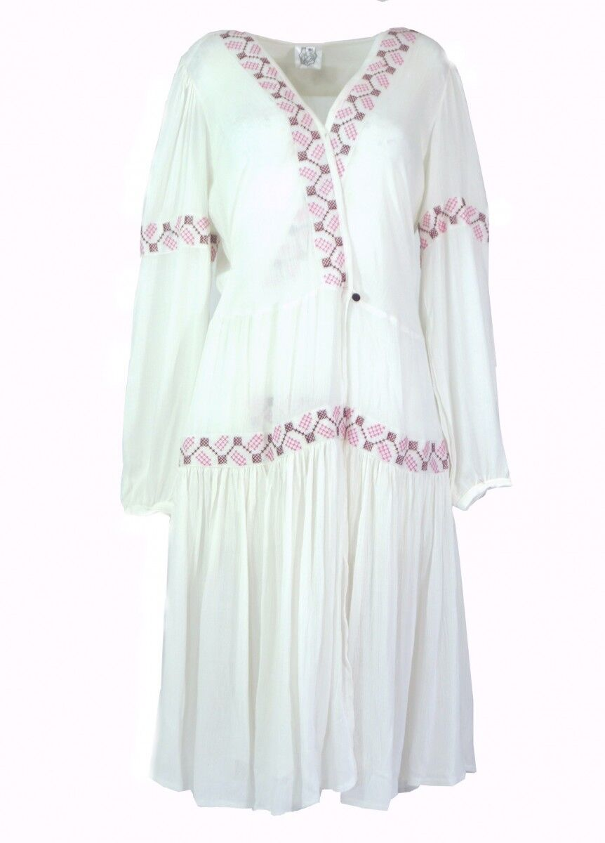G06 Wrap Dress Dress Embroidered S M M L Fairtrade viscosecrepp