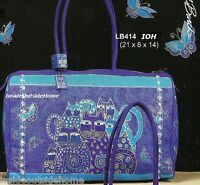 Laurel Burch Indigo Cats Large Travel Tote Weekend Bag