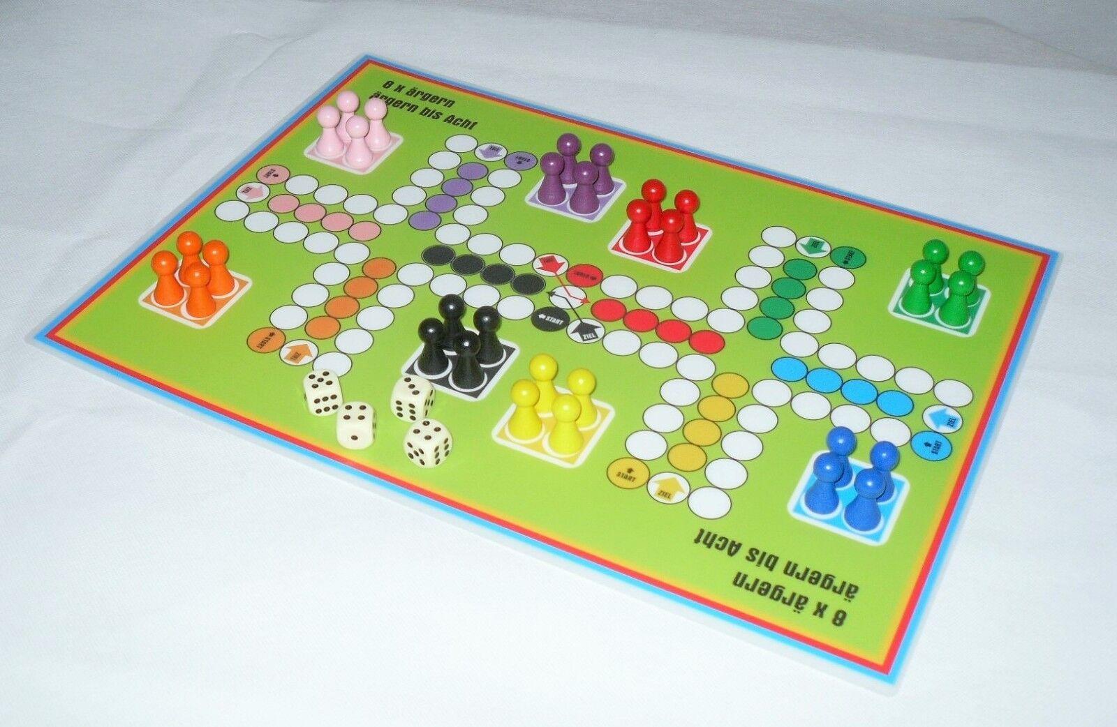 8 x ärgern Ludospiel für bis zu 8 Personen ( A3) Brettspiel Gesellschaftsspiel