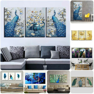Peacock-Abstract-Animal-Art-3-Pcs-Canvas-Home-Decor-Wall-Poster-Painting-Picture