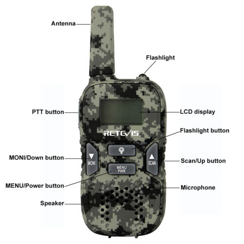 Camouflage Retevis RT33 Kids Walkie Talkies UHF 22CH GMRS//FRS VOX CTCSS//DCS gift