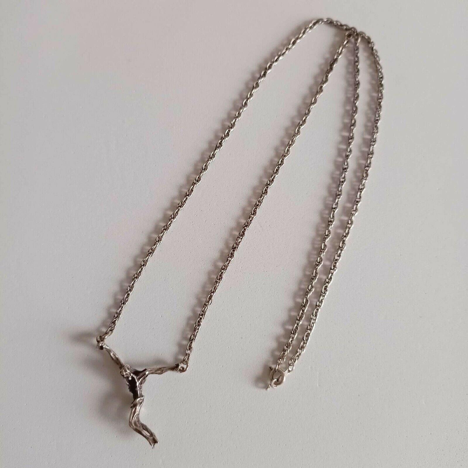 Necklace Chain Sterling Silver 925 Vintage cross crucifix Active