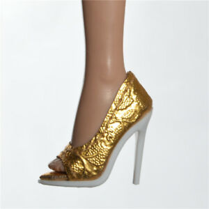 96ad36d960 Details about 2019 fshion show shoes fit FR2 Nu Face 2 body doll integrity  toys Gold pumps