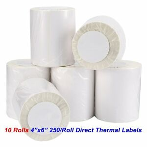 10 Rolls 250/Roll 4x6 Direct Thermal Labels For Zebra ...