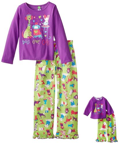 "Girl 6X-10 and 18/"" Doll Matching Dog Gone Cute Pajamas Outfit fit American Girl"