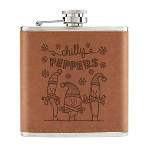 Chilly-Peppers-170ml-Cuir-PU-Hip-Flasque-Fauve-Blague-Froid-Vif-Nourriture-Chaud