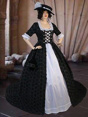 "Medieval Italian Dress Renaissance ""Countess"" Gown Handmade Black White Victoria"