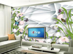 3D Grid Flowers 645 Wallpaper Murals Wall Print Wallpaper Mural AJ WALL AU Lemon
