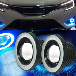 2x 6.4cm COB LED Ice Blue Fog Light Projector Car Halo Angel Eyes Ring DRL Bulbs
