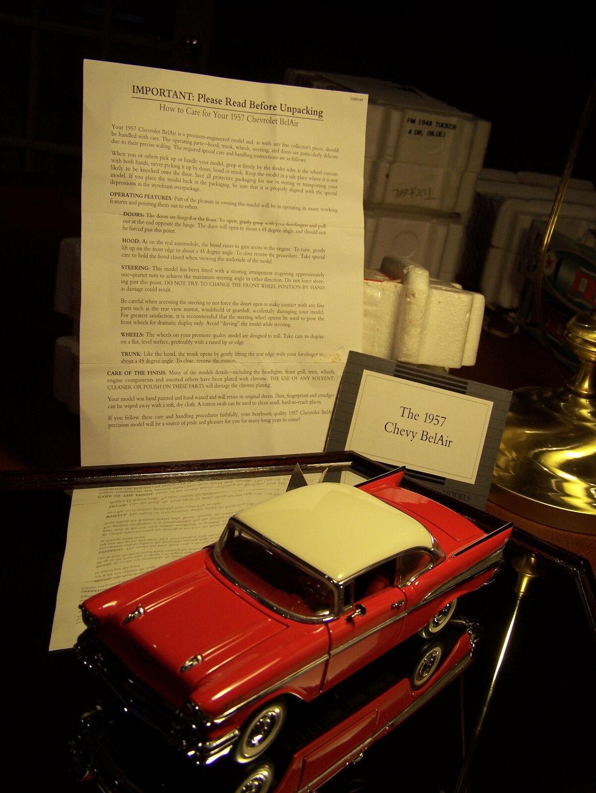 Franklin - mint - 1957 2dr rot   weißen chevrolet bel air titel & kasten sauber