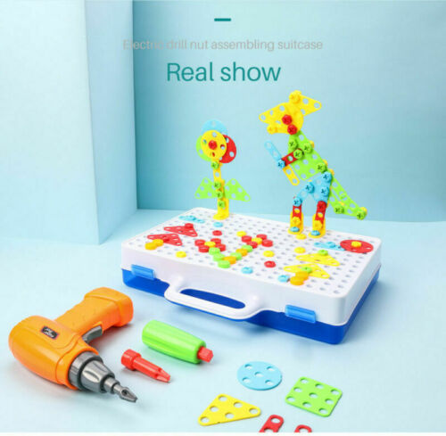 237Pcs Mosaic Electric Drill Puzzle Toy Set Kids Building Model Blocks Assembly