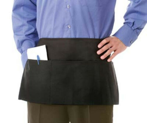 3 pack black 3 pocket spun poly restaurant waiter server barista waist apron