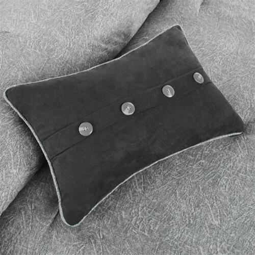 BEAUTIFUL MODERN SOFT GREY BLACK LODGE COZY CABIN STRIPE COMFORTER SET /& PILLOWS