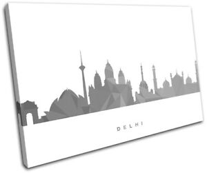 Delhi-Skyline-Geometric-Modern-City-SINGLE-CANVAS-WALL-ART-Picture-Print