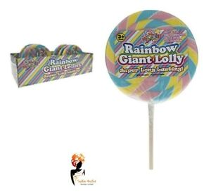 GIANT PASTEL SWIRL CANDY 125g LOLLIES Bag Filler Gift Rainbow Lollipop Party Lot