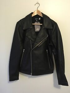 c17d83f67 Details about Levi's Made & Crafted Moto Black Leather Jacket Size 3/  Medium Made In Italy NWT