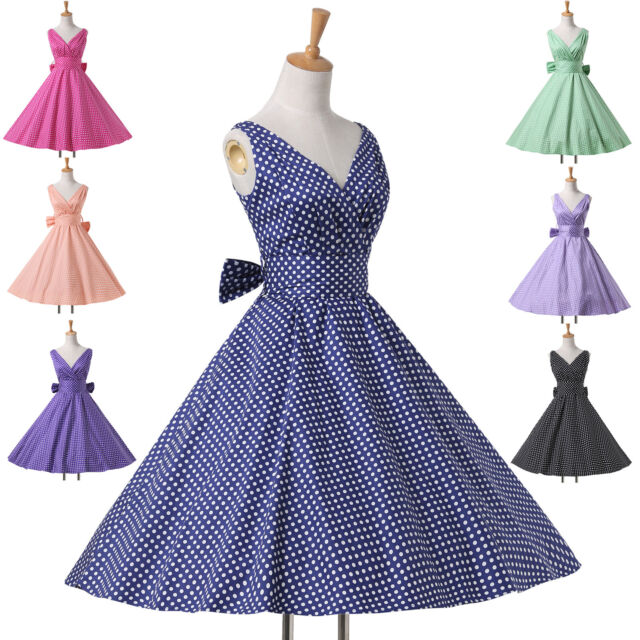 PLUS+ Housewife Vintage Retro 50s Polka Dots Swing Party Pinup GOTHIC TANZ Dress