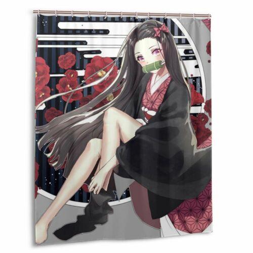 Demon Slayer Anime Tanjirou Waterproof Shower Curtain Bath Wall Hanging 12 Hooks