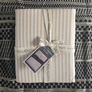 West Elm Ticking Stripe Queen Duvet Cover Only Khaki