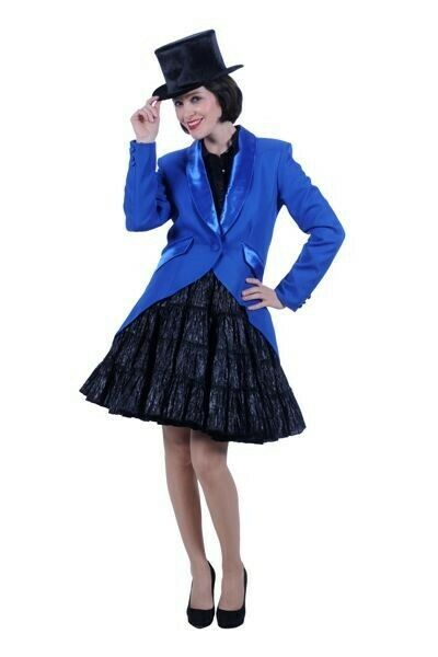 Ladies Deluxe BLUE Tailcoat - Full front style . Satin trim