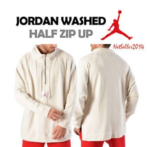 SZ-XL-Nike-Jordan-Men-039-s-1-4-Zip-Wings-Washed-Pullover-Sweatshirt-939954-110