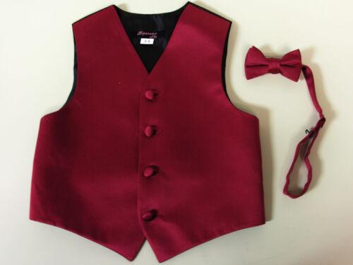 Vest Boys Apple Red Satin Bow Tie Ring Bearer Wedding Party Birthday Formal