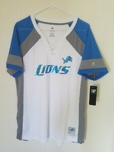 finest selection be417 68f84 Details about NEW MAJESTIC NFL Team Apparel DETROIT LIONS V-Neck Jersey  Shirt Womens NWT