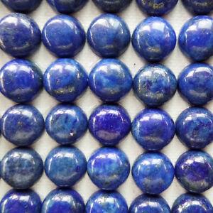 10 Pcs 10x4mm Natural Lapis Lazuli Flatback Round Cabochon V1211