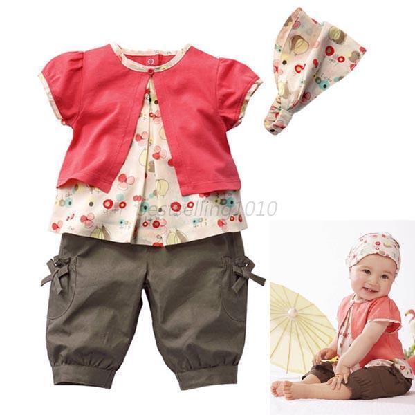 Newborn Summer Fruits 3 Pcs Kids Baby Girls Top+Pants+Hat Set Clothes 0-3Y B51