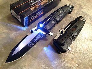 """8.5"""" TAC FORCE EMT BLACK ASSISTED TACTICAL KNIFE w/ LED LIGHT Pocket Blade Open"""
