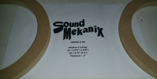"""Spacer Rings 6 1//2/"""" MEDIUM Size 1//2/"""" Thick One Pair Made In USA MDF Speaker"""